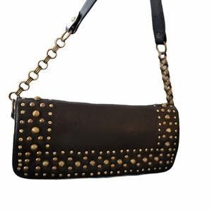 THE FIND leather studed shoulder bag
